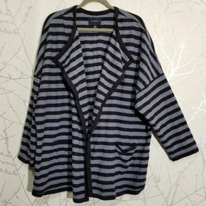 Land's End Navy Horizontal Striped Open Cardigan